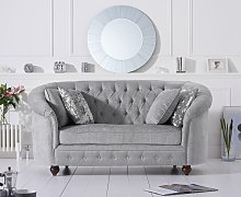 Cara Chesterfield Grey Plush Fabric Two-Seater Sofa