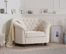 Cara Chesterfield Ivory Linen Fabric Armchair