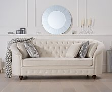 Cara Chesterfield Ivory Linen Fabric Three-Seater