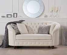 Cara Chesterfield Ivory Linen Fabric Two-Seater