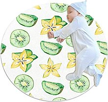 Carambola and kiwi, Kids Round Rug Polyester Throw