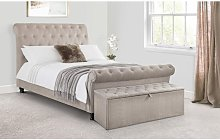 Caravegio Fabric Bed MINK CHENILLE Hardwood Frame