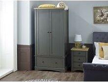 Carden Grey 2 Door Double Wardrobe 1 Drawer -