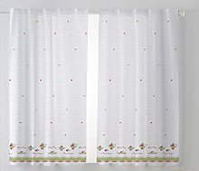 Cardenal Textile Cups Kitchen Curtain, Green, Pack