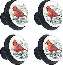 Cardinal Bird Hand Painted 4PCS Round Drawer Knob