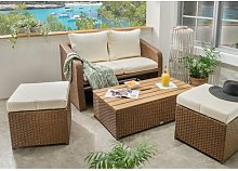 Cargile 4 Seater Rattan Effect Sofa Set with