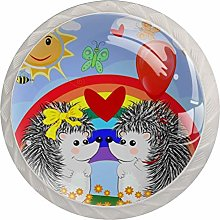 Caring Hedgehog 4 Pack Glass Drawer Knobs- Round