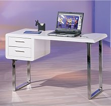 Carlo Computer Desk in High Gloss White With