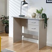 Carlow Wooden Laptop Desk In Grey With 2 Drawers
