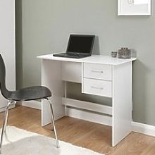 Carlow Wooden Laptop Desk In White With 2 Drawers