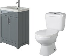 Carlton Grey Traditional Vanity Basin Cabinet Unit & Base Toilet Set - Veebath