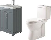 Carlton Grey Traditional Vanity Basin Cabinet Unit