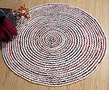 Carnival Medium Round Braided Rug with White