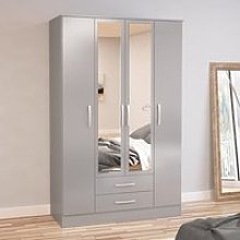 Carola Mirrored Wardrobe In Grey High Gloss With 4