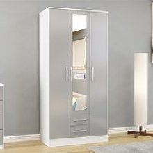 Carola Mirrored Wardrobe In White Grey High Gloss