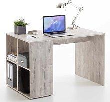 Caroline Wooden Computer Desk In Sand Oak With 4