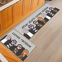 Carpet 2 Kitchen Rugs and Mats Cat Paw Pattern Set