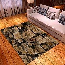 Carpet, 3D Brown Cubes Pattern Velvet Floor Carpet