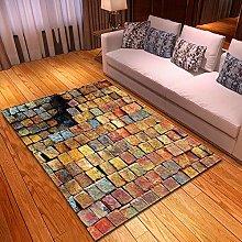 Carpet, 3D Colorful Bricks Pattern Velvet Floor