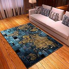 Carpet, 3D Map Pattern Velvet Floor Carpet Fluffy