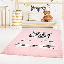 Carpet City Bubble Kids Flat Pile Rug with Cat and