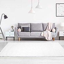 carpet city Flat for Soft & Shiny Plain White Rug