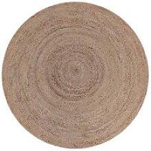 Carpet Jute Round 180 cm Natural - Brown - Label51
