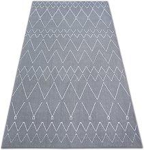 Carpet SENSE Micro 81249 ZIGZAG ETHNO silver/white Shades of grey and silver 200x290 cm