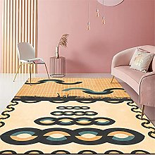Carpet stable rug Yellow blue gray abstract