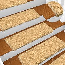 Carpet Stair Treads 15 pcs 65x25 cm Beige