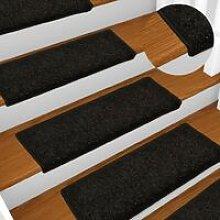 Carpet Stair Treads 15 pcs 65x25 cm Black - Hommoo