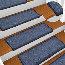 Carpet Stair Treads 15 pcs 65x25 cm Blue