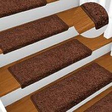 Carpet Stair Treads 15 pcs 65x25 cm Brown VD34799