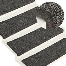 Carpet Stair Treads 15 pcs 65x25 cm Grey and