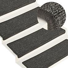 Carpet Stair Treads 15 pcs 65x25 cm Grey and Black