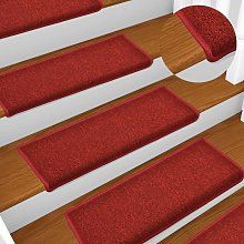 Carpet Stair Treads 15 pcs 65x25 cm Red - Red -