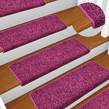 Carpet Stair Treads 15 pcs 65x25 cm Violet