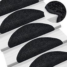 Carpet Stair Treads 15 pcs Black 65x25