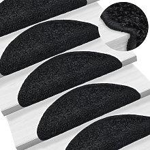 Carpet Stair Treads 15 pcs Black 65x25 cm