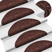 Carpet Stair Treads 15 pcs Brown 56x20 cm