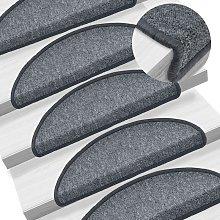 Carpet Stair Treads 15 pcs Dark Grey 65x24x4 cm -