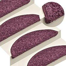 Carpet Stair Treads 15 pcs Dark Purple 56x17x3 cm