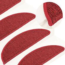 Carpet Stair Treads 15 pcs Red 56x17x3 cm