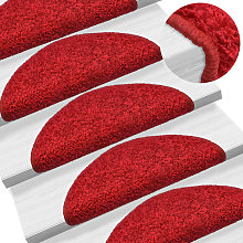 Carpet Stair Treads 15 pcs Red 65x25 cm - Red -