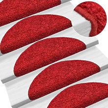 Carpet Stair Treads 15 pcs Red 65x25 cm