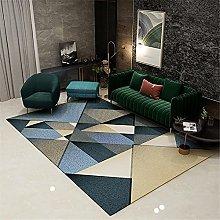 Carpet velvet rug Blue brown gray geometric design