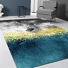 Carpet washable rugs Blue yellow black ink art