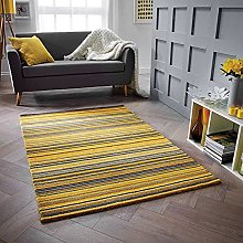 Carter Ochre Yellow Floor Rug Stripes Contemporary