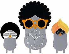 Cartoon 3 Brothers Wall Clock, Acrylic Mute