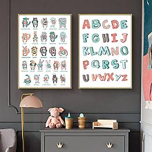 Cartoon Animal Alphabet Poster ABC Letter Canvas